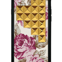 Cream Floral Gold Studded Pyramid iPhone 6 Case