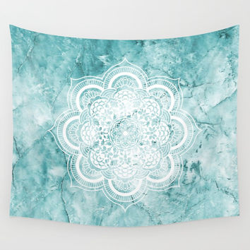 Mandala on teal marble. Wall Tapestry by Nayers
