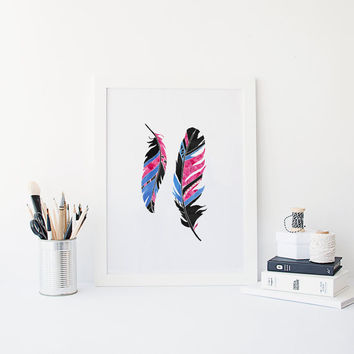 PRINTABLE Art, Feather,Watercolor Feather,Modern Wall Art,Digital Art,Feather Wall Art,Gallery Wall Art,Modern Wall Art,Home Decor,Instant