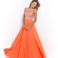 Coral Pink Strapless Sweetheart Beaded Bodice Jeweled Belt Chiffon Gown
