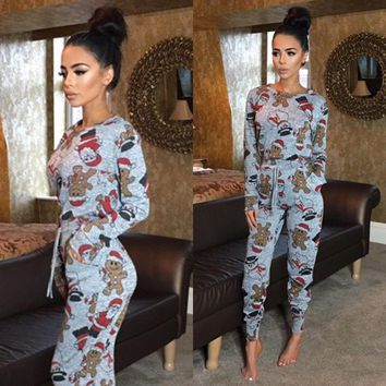 2018 Women Tracksuit Xmas Christmas Long Sleeve Sweatshirt Pants Clothes Set Sleepwear Pajamas Gray Casual Suit
