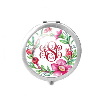 Flower Monogram Compact Mirror
