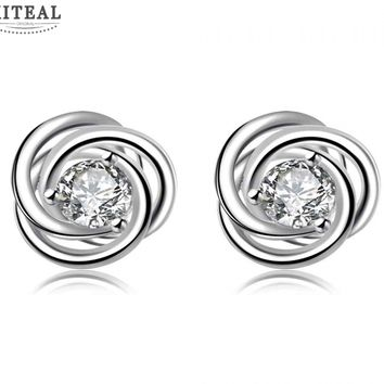 Silver Plated Floral Stud Earrings With Cubic Zirconia Flash Diamond #110