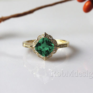 VS Treated 7mm Cushion Cut Green Emerald Vintage Floral Design Engagement Ring 14k Yellow Gold Ring Diamond Ring Wedding Ring Gemstone RING