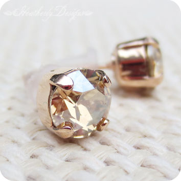 Pequeño: golden shadow swarovski crystal rhinestone and rose gold plated brass teensy minimalist post earrings