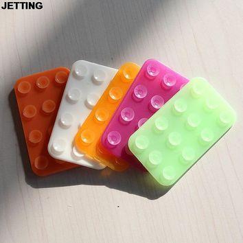 JETTING New 1PCS Mobile Double-side Suction Cup Mat Silicone Sucker Anti-slip Durable Rectangle Random Color