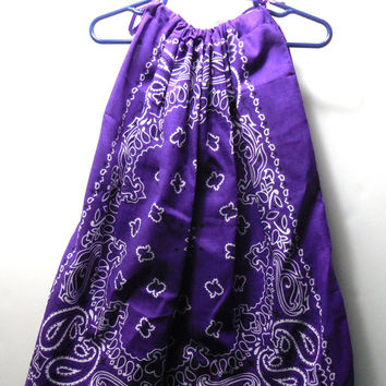 Girls Pillowcase Dress, Purple Bandana Print with Purple Ties, Toddler Size