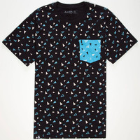 Lira Scattered Mens Pocket Tee Black  In Sizes