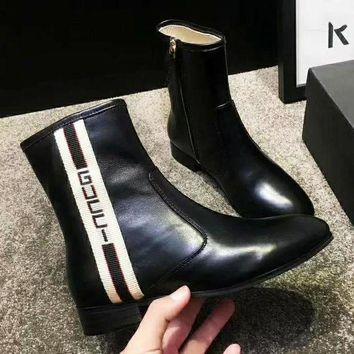 GUCCI Fashion Women Leather Zipper Short Tube Boots Shoes Black