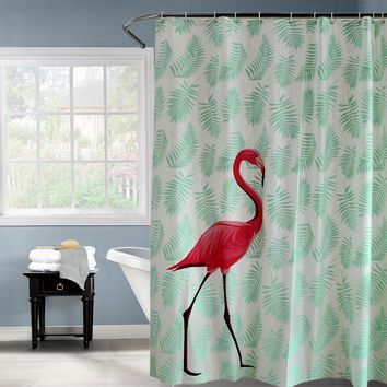 PEAV Plastic Red Flamingo Green Leaves Waterproof Shower Curtain Thicken Frosted Bathroom Shower Curtains 180x180cm 180x200cm