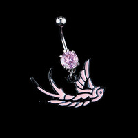 New Charming Dangle Crystal Navel Belly Ring Bling Barbell Button Ring Piercing Body Jewelry = 4804928836