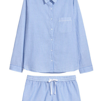 Pyjama shirt and shorts - Light blue/White striped - Ladies | H&M GB