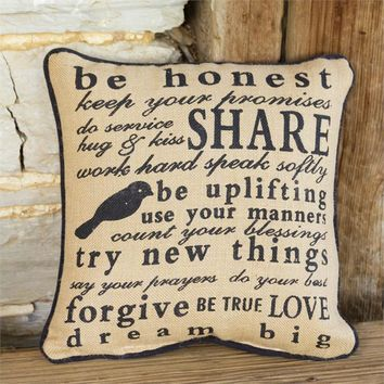 """Words to Live By Burlap 14"""" Pillow"""
