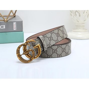 Gucci Hot Sale Popular Men Women Smooth Snake Buckle Belt Leather Belt