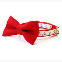 """Holiday Bow Tie Cat Collar Set - """"Yuletide Ruby"""" - Red Detachable Bow Tie + Matching Christmas Collar"""