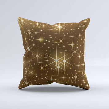 Golden Glowing Stars ink-Fuzed Decorative Throw Pillow