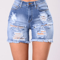 Luke At Me Shorts - Light Blue