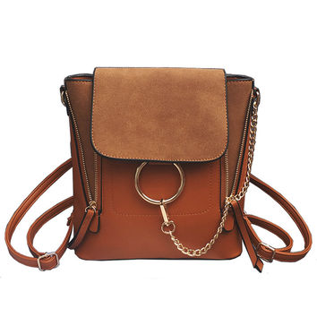 Double Zipper Chain Ring Shoulder Crossbody Bags