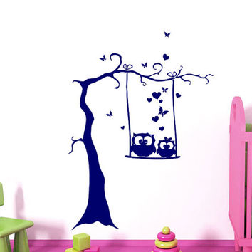 Wall Decals Owl on Branch Childrens Decor Kids Vinyl Sticker Wall Decal Nursery Baby Room Bedroom Murals Playroom - Owl Decor SV6013