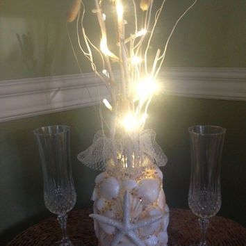 Nautical Beach Centerpiece, Wedding Reception Candle, Seashell Bridal Decor