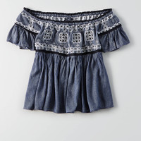 AEO Off-the-Shoulder T-Shirt , Dark Wash