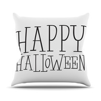 "KESS Original ""Happy Halloween - White"" Throw Pillow"