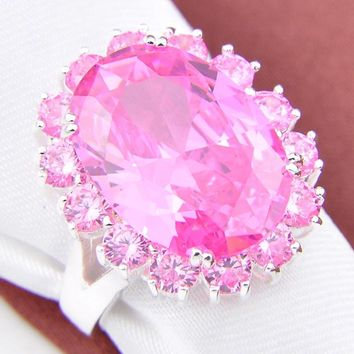 Promotion Jewelry Lucky Shine Full Fire Pink Kunzite Silver Plated Wedding Rings Russia USA Holiday Gift  Australia Rings