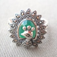 925 Sterling Silver Green Onyx Marcasite Ring