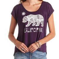 Rhinestone California Bear Graphic Flyaway Tee - Deep Purple