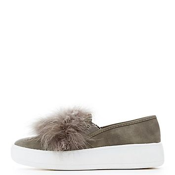 Feather-Trim Slip-On Platform Sneakers | Charlotte Russe
