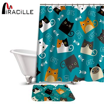 Miracille Cartoon Cat Shower Curtain & Bath Rug Set - Fabric Polyester Waterproof