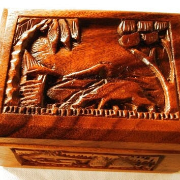 Hawaii Monkey Pod Wood Hand Carved Jewelry Box by dorothybroome