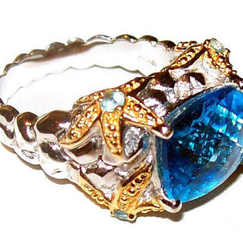 Swiss Blue Topaz Ring 925 Sterling Silver Gold Accents Nugget Band Sz 9 Vintage