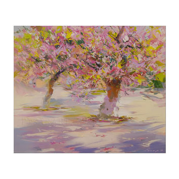 Pink landscape art - Cherry Trees Blossom Painting - Pink canvas art by Yuri Pysar