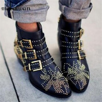Fashion Susanna Studded Women Booties 2017 New Black Red Ladies Shoes Women Autumn Winter Ankle Boots Genuine Leather Rain Botas