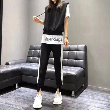 """Balenciaga"" Women Casual Fashion Multicolor Letter Sleeveless Hooded Vest Short Sleeve T-shirt Trousers Set Three-Piece Sportswear"
