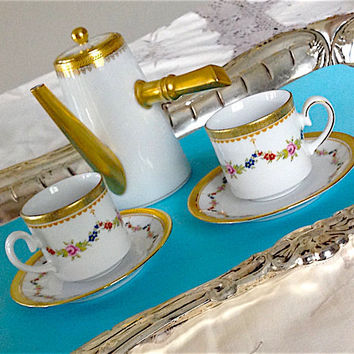 Espresso Set, 2 Vintage Espresso Cups, Demitasse, Turkish Coffee Cups, Antique China, Limoges France