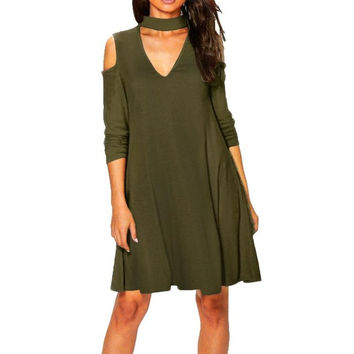 Dress  Off The Shoulder V Neck Sexy Women Long Sleeve Loose OL Ladies Dresses Women Clothing Vestidos Mujer #1210 GS