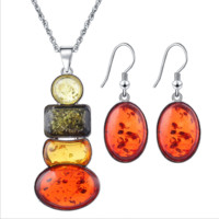 Insect Amber Color Beeswax Jewelry Set Bracelet Earrings