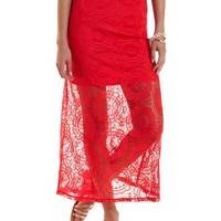 Sheer Lace Maxi Skirt by Charlotte Russe