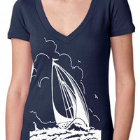 sailboat shirt - vintage design SAILBOAT SILHOUETTE - deep v-neck women's navy vintage t-shirt