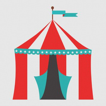 Contemporary Circus Tent Hand Embroidery Pattern