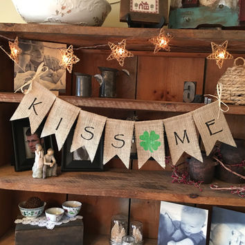 St. Patricks Day Bunting, St. Paddys Bunting, Kiss Me Bunting, Kiss Me I'm Irish, St. Patricks Garland, Lucky Bunting, St. Patricks