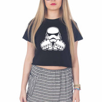 Dark Side Knuckle starwars stormtrooper For Womens Crop Shirt **