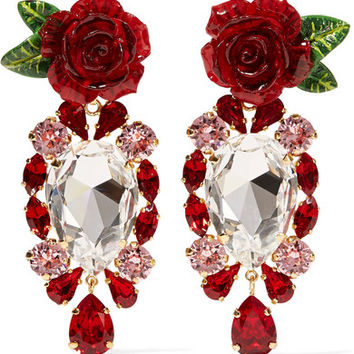 Dolce & Gabbana - Gold-tone, crystal and resin clip earrings