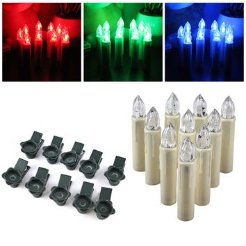 10pcs Electronic Flameless Candle Lamp 12 Colors Wireless RGB Remote Control LED Candles Lights For Wedding Christmas Tree Decor