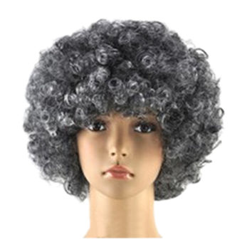 Fashion Afro Cosplay Curly Clown Party 70s Disco Cosplay Wig Cheering Squad Clown   Grey