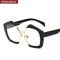 Peekaboo designer large black glasses frames for women 2017 clear lens transparent eyewear frames vintage high quality