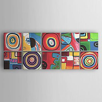 Oil Painting Hand Painted - Abstract Abstract Modern / Contemporary Canvas Three Panels
