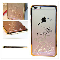 iPhone 6S Plus Case, iPhone 6 Plus Case, MGIFTSHOP Rhinestone Diamond Crystal Hard Plastic Plated Slim Case Cover Full Cover Protective Case for Apple iPhone 6S Plus / iPhone 6 Plus [LOTUS Pink]
